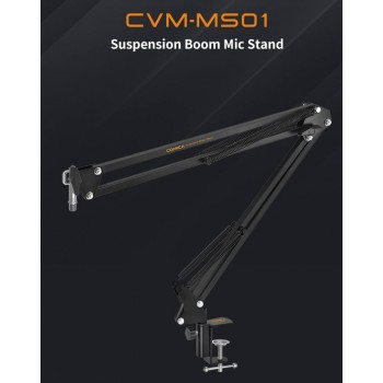 COMICA CVM-MS01 Suspension Boom Mic Stand,Microphone Hanging Bracket with 3/8 and 5/8 Threaded Hole