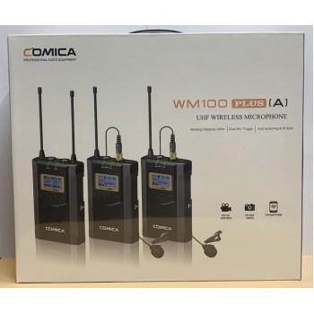 Беспроводной петличный микрофон Comica CVM-WM100 plus (A) (RX+TX+TX)