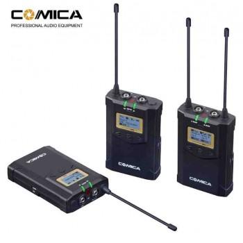 Беспроводной петличный микрофон Comica CVM-WM100 plus (RX+TX+TX)