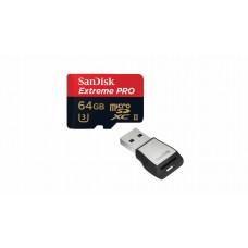 Карта памяти SANDISK Extreme PRO MicroSDXC 64ГБ 275MB/1833X + USB 3.0 картридер (SDSQXPJ-064G-GN6M3)