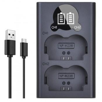 Двойное зарядное у-во DL-BC-W126 для Fujifilm NP-W235 Micro и Type-C USB Charger с инфо индикатором