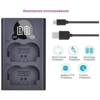 Двойное зарядное у-во DL-BC-W235 Micro и Type-C USB Charger с инфо индикатором для Fujifilm NP-W235